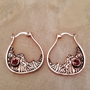 💖Brass with Pink Stone Earrings